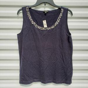 NWTTalbots knit necklace tank cotton/silk/cashmere